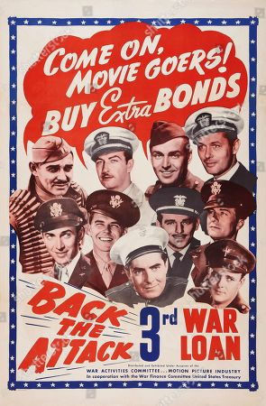 World War II War Bonds, US poster art, top row, from left: Clark Gable, Robert Taylor, Alan Ladd, Robert Montgomery; second row, 1st, second, third, from left: James Stewart, Ronald Reagan, Douglas Fairbanks Jr.; front row center: Tyrone Power, ca. 1943