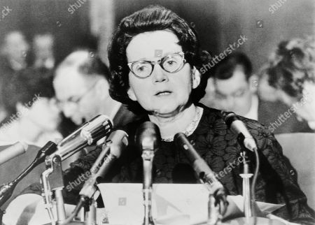 Scientist Rachel Carson (1907-1964), appearing before a Senate Government Operations subcommittee studying pesticides on January 4, 1963. The author of THE SILENT SPRING, established the harm caused to wild animals by the chemical DDT.