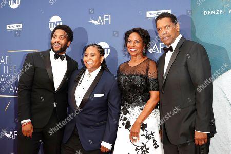 Malcolm Washington, Katia Washington, Pauletta Washington and US actor Denzel Washington arrive for the 47th AFI Life Achievement Award honoring Denzel Washington at the Dolby Theatre in Hollywood, Los Angeles, California, USA 06 June 2019. The AFI Life Achievement Award is the highest honor given for a career in film.