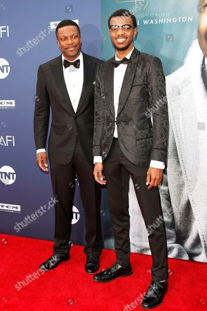 Chris Tucker (L) and his son Destin Christopher Tucker arrives for the 47th AFI Life Achievement Award honoring Denzel Washington at the Dolby Theatre in Hollywood, Los Angeles, California, USA 06 June 2019. The AFI Life Achievement Award is the highest honor given for a career in film.