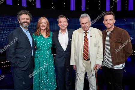 (l-r) Michael Sheen, Sarah-Jane Mee, host Bradley Walsh, Martin Bell and Danny Jones.