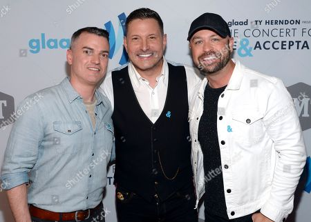 GLAAD's Zeke Stokes with Ty Herndon and CMT's Cody Alan