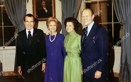 President Richard Nixon, Pat Nixon, Betty Ford, and Representative Gerald Ford following his as the Presidents choice to succeed disgraced Vice President Sprio T. Agnew. October 12, 1973.