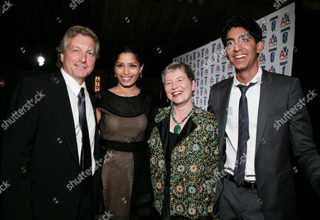 Peter Morris, Freida Pinto, Dame Barbara Hay and Dev Patel