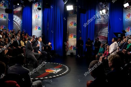 President Barack Obama participates in the CNBC Town Hall Discussion on Jobs with John Harwood at the Newseum in Washington D.C. Sept. 20 2010.,