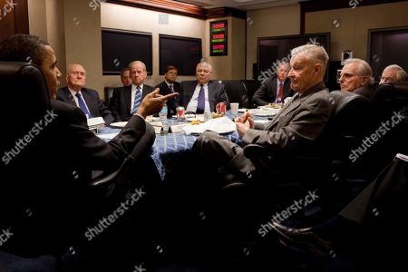 President Obama attends a meeting with former National Security Advisors in the White House Situation Room on March 24 2010. Seated from left Brent Scowcroft Robert Bud McFarlane Colin Powell. Zbigniew Brzezinski is on Obamas right.