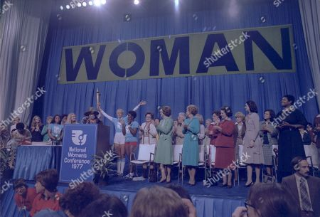 Incumbent First Lady Rosalynn Carter is joined by Betty Ford and Ladybird Johnson and other notable women at the National Womens Conference in Houston to advocate passage of the Equal Rights Amendment. Nov. 18 to 21 1977.