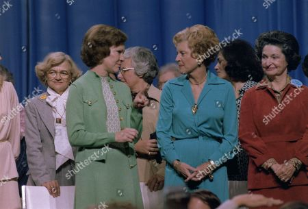 First Ladies Rosalynn Carter with Betty Ford and Ladybird Johnson at the National Womens Conference. They all promoted passage of the Equal Rights Amendment. Nov. 18 to 21 1977.