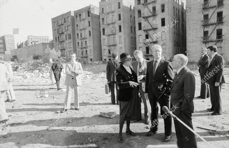 Secretary of Housing and Urban Development HUD Patricia Harris Jimmy Carter and New York City Mayor Abraham Beame tour an abandoned block the South Bronx. 1977.