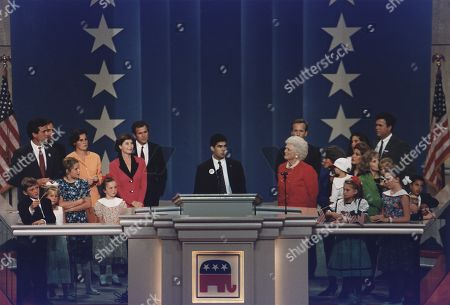 16 year old George P. Bush son of Jeb Bush and his Hispanic wife Columba speaks about his grandfather President George H.W. Bush at the 1992 Republic Convention.