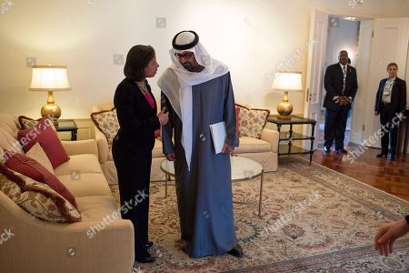 Sheikh Mohammed bin Zayed Al Nahyan, Crown Prince of Abu Dhabi talking with Susan E. Rice. National Security Advisor met him at the U.S. Ambassadors residence in The Hague, the Netherlands, March 25, 2014