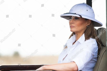 First Lady Melania Trump wearing a path helmet on a safari tour on Oct. 5, 2018, at the Nairobi National Park in Nairobi, Kenya.