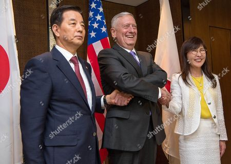 Sec. of Defense Jim Mattis with Defense Ministers of South Korea and Japan in Singapore. June 3, 2017. L-R. Defense Minister Han Min-goo, Sec. Mattis, and Japanese Minister Tomomi Inada