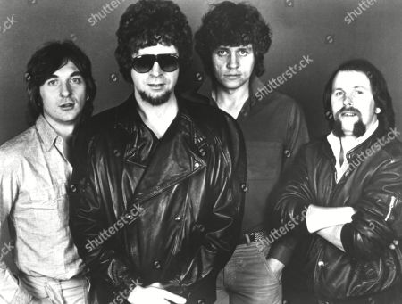 Electric Light Orchestra (ELO): (l-r): Richard Tandy, Jeff Lynne, Bev Bevan, Kelly Groucutt, ca. 1970s