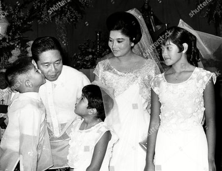 Ferdinand Marcos (second from left), 10th President of the Philippines, and family: Ferdinand Marcos Jr. (left), Imee Marcos (center), Imelda Marcos (second from right), and Irene Marcos (right), May 10, 1968.