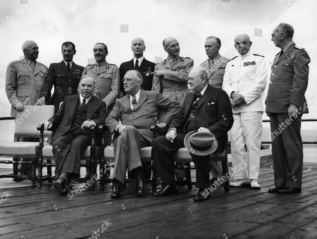 World War II. Seated, from left: W.L. Mackenzie King, Franklin Delano Roosevelt, Winston Churchill. Standing, from left: H.H. Arnold, Charles Portal, Alan Brooke, Ernest King, John Dill, Dudley Pound, William Leahy, at the Second Quebec Conference, (codenamed OCTAGON), Quebec City, Canada, September 1944.