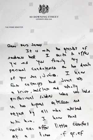The letter from Prime Minister Gordon Brown to Mrs Jacqui Janes, whose son Jamie was killed in Afghanistan