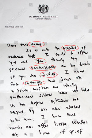 Stock Photo of The letter from Prime Minister Gordon Brown to Mrs Jacqui Janes, whose son Jamie was killed in Afghanistan