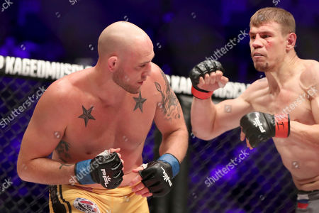 Maxim Grishin, right, in action against Jordan Johnson during their regular season mixed martial arts bout at PFL 3, at the Nassau Coliseum (NYCB Live) in Uniondale, NY. Grishin won via decision