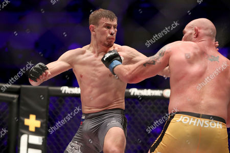 Maxim Grishin, left, in action against Jordan Johnson during their regular season mixed martial arts bout at PFL 3, at the Nassau Coliseum (NYCB Live) in Uniondale, NY. Grishin won via decision
