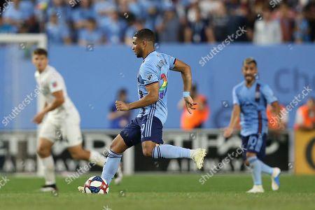 New York City FC defender Ronald Matarrita during an MLS soccer match against FC Cincinnati, in New York. NYCFC wins 5-2