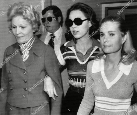 Former First Lady Patricia Nixon and daughters Julie Nixon Eisenhower and Tricia Nixon Cox at hospital visit, October, 1974.