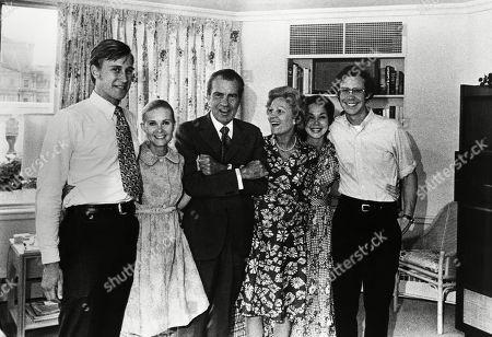 Nixon Presidency. From left: Edward Cox, Tricia Nixon Cox, Richard Nixon (US President), Patricia Nixon (First Lady), Julie Nixon Eisenhower, David Eisenhower, family portrait taken shortly before Richard Nixons resignation, August 1974.
