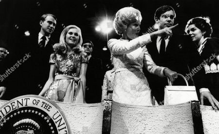 Nixon Presidency. From left: Edward Cox, Tricia Nixon Cox, First Lady Patricia Nixon, David Eisenhower, Julie Nixon Eisenhower, at the Republican National Convention, Miami, Florida, August 1972.