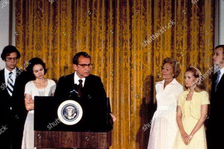 Richard Nixon announces his resignation of the Presidency. David & Julie Eisenhower, Nixon, Pat Nixon, Tricia & Edward Cox, 8/9/74