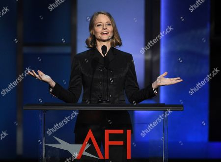 Jodie Foster addresses the audience during the 47th AFI Life Achievement Award ceremony honoring actor Denzel Washington at the Dolby Theatre, in Los Angeles
