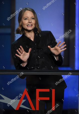 Jodie Foster makes a point onstage during the 47th AFI Life Achievement Award ceremony honoring actor Denzel Washington at the Dolby Theatre, in Los Angeles