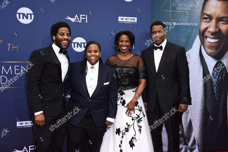 Stock Picture of Denzel Washington, Malcolm Washington, Katia Washington, Pauletta Washington. Honoree Denzel Washington, right, with (from left) Malcolm Washington, Katia Washington and Pauletta Washington arrive at the 47th AFI Life Achievement Award at the Dolby Theatre on in Los Angeles