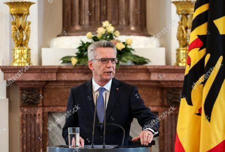 Former German Interior Minister Thomas De Maiziere speaks after being awarded the Order of Merit by German President Frank-Walter Steinmeier during a ceremony at Bellevue Palace in Berlin, Germany, 07 June 2019. The Order of Merit of the Federal Republic of Germany is awarded by the President to honor achievements of 'particular value to society'.