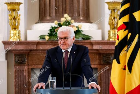 German President Frank-Walter Steinmeier speaks during the awarding ceremony of the Order of Merit to former German Interior minister Thomas De Maiziere (unseen) at Bellevue Palace in Berlin, Germany, 07 June 2019. The Order of Merit of the Federal Republic of Germany is awarded by the President to honor achievements of 'particular value to society'.