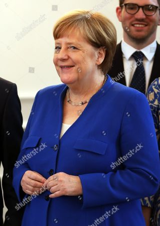 German Chancellor Angela Merkel attends the ceremony of the Order of Merit to former German Interior minister Thomas De Maiziere (unseen) at Bellevue Palace in Berlin, Germany, 07 June 2019. The Order of Merit of the Federal Republic of Germany is awarded by the President to honor achievements of 'particular value to society'.
