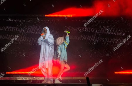 (R-L) Yolandi Visser and Watkin Tudor Jones of the South African rap-rave-band Die Antwoord perform on Park stage at the 'Rock im Park' festival in Nuremberg, Germany, 07 June 2019. The festival takes place from 07 to 09 June.
