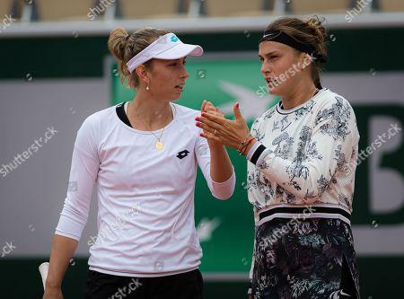 Arena Sabalenka of Belarus & Elise Mertens of Belgium in action during the doubles semi-final