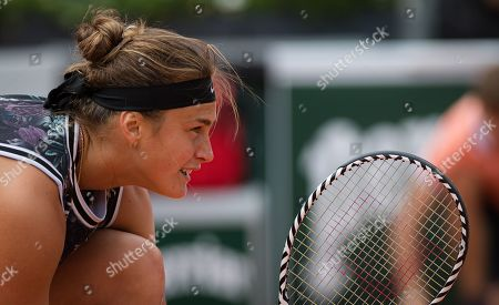 Arena Sabalenka of Belarus in action during the doubles semi-final