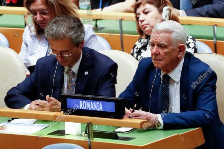 Stock Picture of Romanian Foreign Minister Teodor Melescanu (R) listens during a vote in the United Nations General Assembly on the election of five non-permanent members of the Security Council at the United Nations headquarters in New York, USA, 07 June 2019. Estonia has, for the first time, been elected a non-permanent member of the United Nations Security Council.