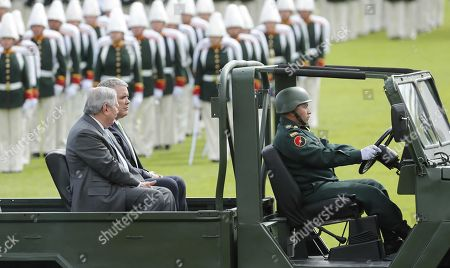 The Colombian President Ivan Duque (C), and the Defense Minister Guillermo Botero (L) participate in a ceremony of military ascent, in Bogota, Colombia, 07 June 2019. The Colombian Senate approved this week by a large majority the promotion to general of 13 military and police, including the commander of the Army, Major General Nicacio Martinez Espinel, questioned by its possible relationship with extrajudicial executions of civilians, called 'false positives'.