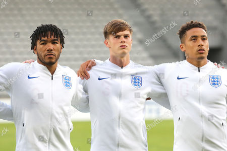 Stock Image of Reece James, Tom Pearce and Marcus Tavernier of England during Chile Under-21 vs England Under-20, Tournoi Maurice Revello Football at Stade Parsemain on 7th June 2019