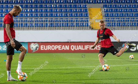 Hungary's Roland Varga (L) and Laszlo Kleinheisler attend a training session in Baku, Azerbaijan, 07 June 2019. Azerbaijan will face Hungary in their UEFA Euro 2020 qualifying soccer match on 08 June 2019.