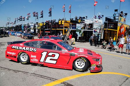 Ryan Blaney drives for a practice session for the NASCAR cup series race at Michigan International Speedway, in Brooklyn, Mich