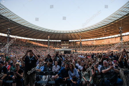A general view of the audience as British singer Phil Collins (not pictured) performs on stage during a concert in Berlin, Germany, 07 June 2019, as part of his 'Not Dead Yet' tour.