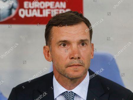 Ukraine's head coach Andriy Shevchenko looks on before the the Euro 2020 group B qualifying soccer match between Ukraine and Serbia at the Arena Lviv stadium in Lviv, Ukraine