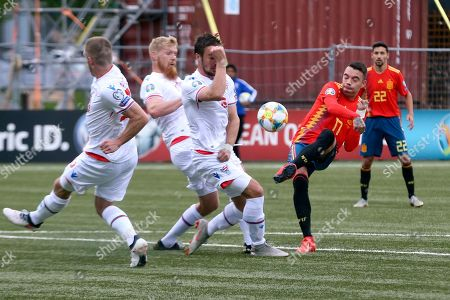Spanish national soccer player Iago Aspas (R) in action during the UEFA EURO 2020 qualifying soccer match between Faroe Islands and Spain in Torshavn, Faroe Islands, 07 June 2019.