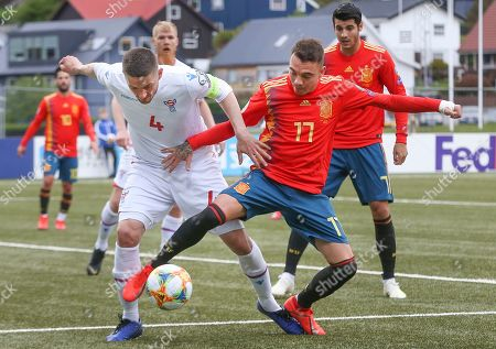Stock Picture of Spanish national soccer player Iago Aspas (R) in action against Faroe Island's Atli Gregersen during the UEFA EURO 2020 qualifying soccer match between Faroe Islands and Spain in Torshavn, Faroe Islands, 07 June 2019.