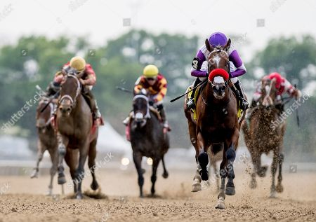 Stock Image of , 2035 - Elmont, NY, U.S. - #4, Fore Left, ridden by jockey Mario Gutierrez, wins the Tremont on Belmont Stakes Festival Friday at Belmont Park in Elmont, New York. Alex Evers/Eclipse Sportswire/CSM