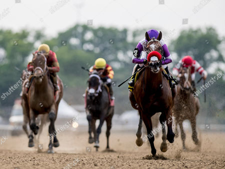 , 2035 - Elmont, NY, U.S. - #4, Fore Left, ridden by jockey Mario Gutierrez, wins the Tremont on Belmont Stakes Festival Friday at Belmont Park in Elmont, New York. Alex Evers/Eclipse Sportswire/CSM