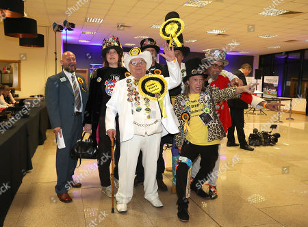 Howling Laud Hope (Official Monster Raving Loony Party Candidate) with some of his supporters at the count